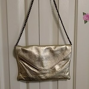 All leather, gold crossbody bag